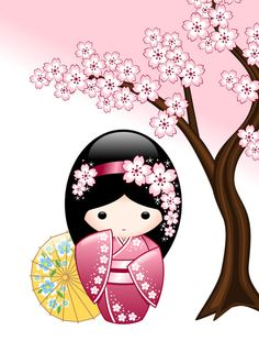Spring Kokeshi Doll Art Print by Chibibi | Society6