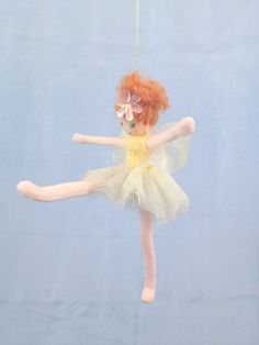 Yellow Fairy, Ballerina Fairy, Fairy Princess, Waldorf Doll, Handmade Fairy, Poseable Fairy Doll, Tutu, Tiara