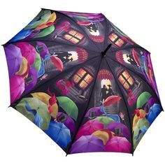 Automatic walking length umbrella with a colourful print of a crowd with their umbrellas & their pets going for a walk in the park on a rainy night. Cute Umbrellas, Umbrellas Parasols, Umbrella Art, Under My Umbrella, Brollies, Going To Rain, Singing In The Rain, Opening Night, Rainy Days