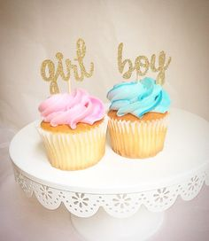 Gender reveal cupcake toppers-gender reveal party by Torisshoppe