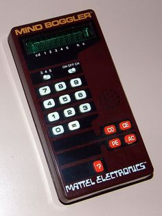 Vintage Mind Boggler Electronic Handheld Game By Mattel Electronics, Model VFD, Made In Hong Kong, Copyright 1978 Vintage Games, Vintage Toys, Handheld Video Games, Home Computer, Game & Watch, Electronic Toys, Pinball, Games To Play, Arcade