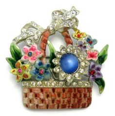 1942 Coro Flower Basket Brooch Pin A Katz
