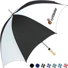 """Manual open 60"""" arc umbrella...Nasty weather won't ruin your outdoor event when you invest in the manual open 60"""" arc umbrella as your next promotional product! Each umbrella includes a manual open with plenty of colors for you to choose from. The product also features a rugged steel frame with double rib construction and blonde wood handle. A handout you won't want to pass up, make the umbrella complete by adding on a message, logo or slogan."""