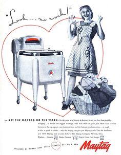 Vintage Advertising, Illustration, and Ephemera Retro Advertising, Retro Ads, Vintage Advertisements, Vintage Ads, Vintage Looks, Maytag Washing Machine, Retro Housewife, Laundry Signs, Hail Storm