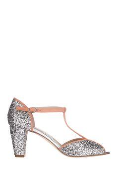 Sandales cuir paillettes Lapoca Argent Anniel sur MonShowroom.com