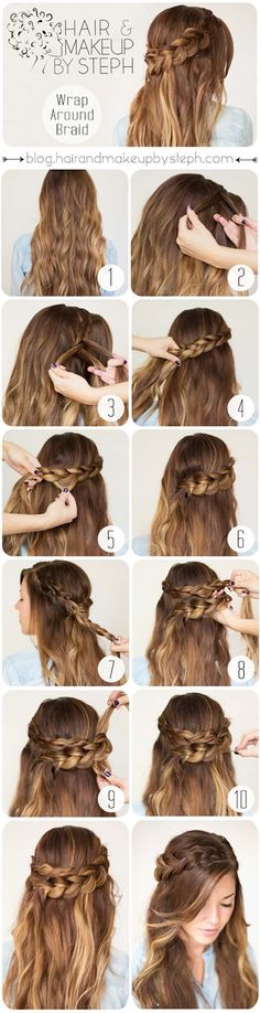 Easy Hairstyles for Work - Wrap Around Braid - Quick and Easy Hairstyles For The Lazy Girl. Great Ideas For Medium Hair, Long Hair, Short Hair, The Undo and Shoulder Length Hair. DIY And Step By Step - https://www.thegoddess.com/easy-hairstyles-for-work