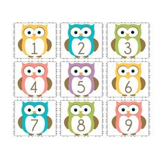 For April. One per index card for a calendar journal I want to try. Owl Calendar Numbers and split and Kindergarten Learning, Early Learning, Fall Activities For Toddlers, Owl Theme Classroom, Calendar Numbers, Calendar Journal, Alphabet Templates, Purple Owl, Crochet Owls