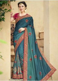 Remarkable Fancy Fabric Teal Classic Designer Saree