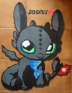Toothless - How to Train Your Dragon hama perler beads by Sidorus00
