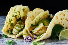 A perfect 20 minute meal when you want something healthy that everyone will love - these fish tacos with avocado cream are fantastic!