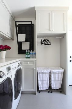 Laundry Bin Sorter - Contemporary - bathroom - Benjamin Moore Brushed Aluminum - Von Fitz Design
