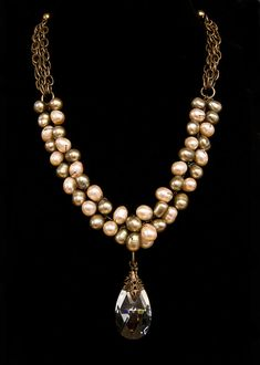 pearl bead necklace with hanging herkimer stone