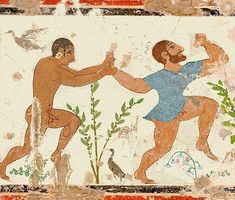 Etruscan tomb painting. Its worth reading Etruscan Places by D.H lawrence