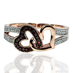 New Midwest Jewellery Midwest Jewellery Red Diamond Hearts Rose Gold Ring Real Diamonds Double Heart Split Shoulder Gift Fashion online - Allshoppingideas Real Gold Jewelry, Heart Jewelry, Women Jewelry, Gold Jewellery, Heart Rings, Fashion Jewelry, Fashion Rings, Nice Jewelry, Designer Jewellery