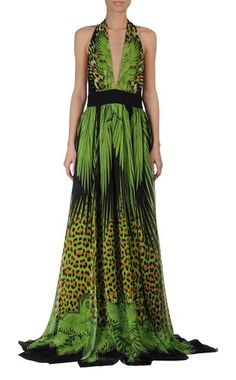 green crepe dress by Just Cavalli (Summer 2013)