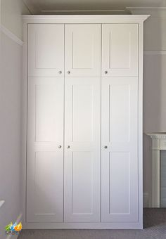 Supplied fitted and painted by Art Carpentry in Forest Gate Bedroom Built In Wardrobe, Ikea Wardrobe, Wardrobe Handles, Wardrobe Furniture, Wardrobe Cabinets, Alcove Storage, Bedroom Storage, Ikea Bedroom, Room Decor Bedroom