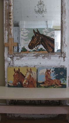 Set of 3 equestrian paint-by-number art.  Available @ jemsbyjennym.etsy.com