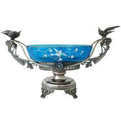 Aurora Silverplate Aesthetic Basket Centerpiece 3D Hummingbirds | From a unique collection of antique and modern centerpieces at https://www.1stdibs.com/furniture/dining-entertaining/centerpieces/