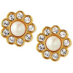 kate spade new york faux pearl flower stud earrings ($48) ❤ liked on Polyvore featuring jewelry, earrings, pearl, faux pearl earrings, floral stud earrings, blossom jewelry, kate spade earrings and fake pearl jewelry