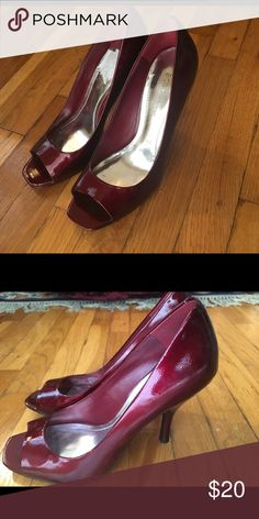BCBGeneration red patent leather peep toe heel Sexy red patent leather peep toe heel. Gently used. BCBGeneration Shoes Heels