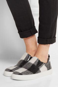 MSGM|Checked brushed-felt slip-on sneakers|NET-A-PORTER.COM