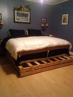 our new pallet bed platform for a king size bed