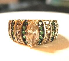 SIZE 8 Vintage Marquis Cut White Topaz Green Accents 925 Sterling Silver Rings #SolitaireAccentsClusterCocktail