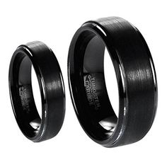 His & Her's Matching Set 6mm / 8mm Black Brushed Center with Polished Edge Tungsten Carbide Wedding Band Set. Please use drop down to select desired sizes. Genuine Tungsten Carbide (Cobalt Free) Wedding Band Ring. Hypoallergenic - Comfort Fit. This ring can be worn as a Wedding Band or Promise Ring by men or women. Beware of imitated replicas - 30 Day Money Back Gurantee!.