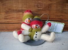 Mini Snowmen on Saucer Sled Wool Wrapped/Needle Felted Ornament