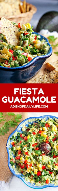 Fiesta Guacamole...a healthy snack packed with vegetables and extra protein for fueling muscle recovery after a tough workout! This easy to make appetizer recipe is perfect for parties and Mexican night as well! #FuelYourFancy, #theoriginalsuperfood #ad