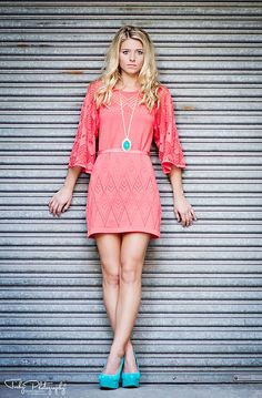 Senior Photography.  Tishy Photography - So  eLegant - Turquoise Statement necklace with turquoise High Heels!