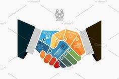 Businessman Handshake Jigsaw by Pongsuwan on @creativemarket