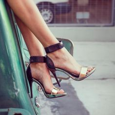 Ankle strap stilettos.