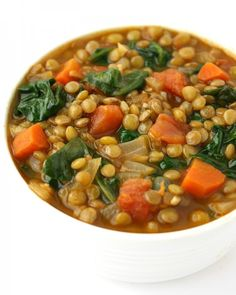 2. Lentil Spinach Soup  #vegan #postworkout #recipes https://greatist.com/eat/vegan-post-workout-meals