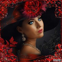 Le rouge et le noir Romantic Pictures, Beautiful Pictures, Rita Hayward, Fair Face, Red Images, Red Hat Ladies, Amazing Gifs, Glitter Graphics, Beautiful Gif