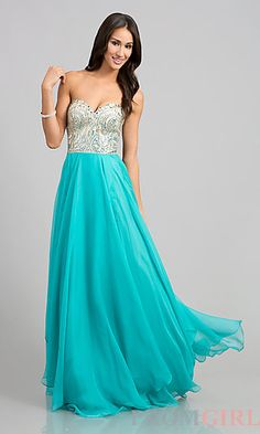 Floor Length Strapless Sweetheart Dress at PromGirl.com