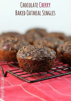 Chocolate Cherry Baked Oatmeal Singles - rich chocolate and sweet, juicy cherries make these oatmeal cups taste like dessert for breakfast! Only 127 calories or 3 Weight Watchers points each. www.emilybites.com #healthy