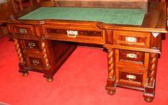 Desk, historism, walnut, 1890 - 78 cm x 162 cm x 80 cm (h x w x d), www. Desks, Antique Furniture, Office Desk, Corner Desk, Antiques, Home Decor, Tables, Corner Table, Antiquities