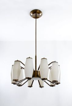 Anonymous; #1185 Brass and Glass Ceiling Light by Stilnovo, 1960.
