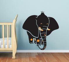 Baby Nursery decal -  Elephant wall decal, nursery decal sticker, baby room decor. NEW Safari theme. $54.00, via Etsy.