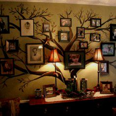Family portrait tree. Makes me think of you Jennifer. Perhaps above the Piano as well incorporate pictures on the back of it.