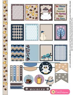 Free Printable Winter Sticker Sampler Kit for Erin Condren Life Planner ECLP {also available for the Happy Planner}
