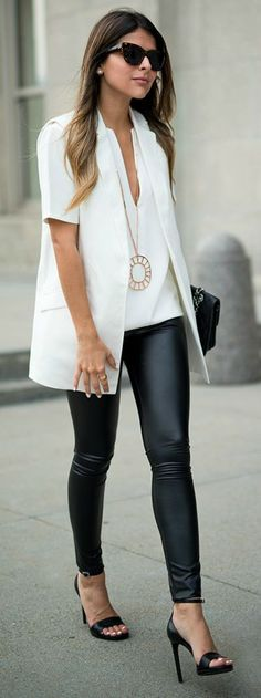 fall / winter - street chic style - street style - black and white - summer outfits - fall outfits - party outfits - office wear - work outfits - white v-neck top + white vest + leather leggings + black ankle strap heeled sandalsl + black sunglasses Fall Outfits, Casual Outfits, Fashion Outfits, Womens Fashion, Fashion Trends, Fashion Styles, Summer Outfits, Grunge Outfits, Party Outfits