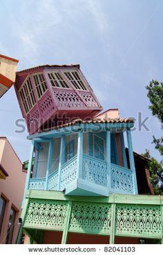 """stock photo : Traditional """"falling"""" wooden carving balconies of Old Town of Tbilisi, Republic of Georgia"""