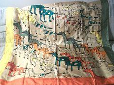 Castelbajac Silk Scarf 36 Inch 91 cm Rolled Hem Bright Colors Horses Ponies #Castelbajac #Scarf #All