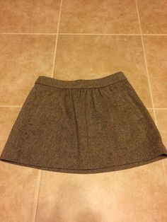 J.Crew Women's Wool Tweed Brown Skirt Pleated Pockets Size 10 #JCrew #Pleated
