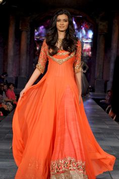 Manish Malhotra - orange anarkali - sangeet outfit - mehendi outfit - saffron and gold - Indian bride - Indian couture #thecrimsonbride