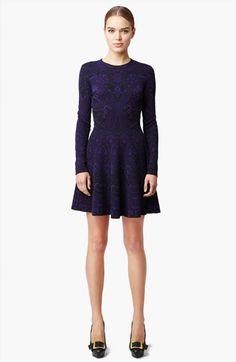 Alexander McQueen Full Skirt Intarsia Knit Dress available at #Nordstrom
