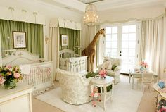 Combining green with hits of pink in the nursery