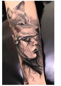 Wolf Face Tattoo, Wolf Girl Tattoos, Wolf Tattoos For Women, Wolf Tattoo Sleeve, Girl Face Tattoo, Tattoos For Guys, Sleeve Tattoos, Time Tattoos, Body Art Tattoos